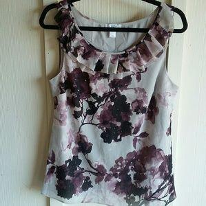 Loft Gray & Purple Sleeveless Blouse